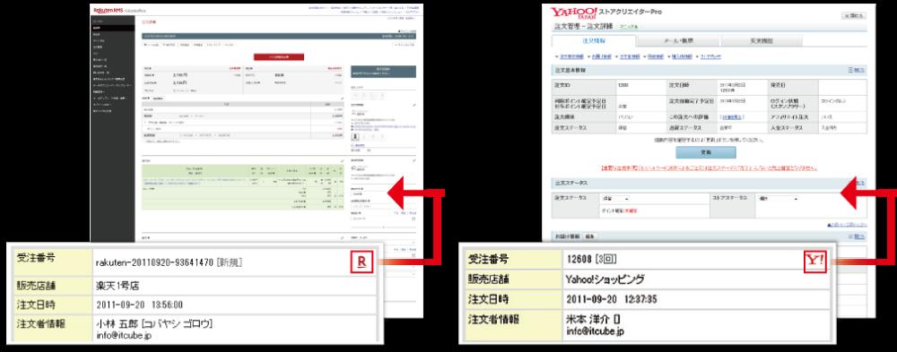 受注詳細画面からワンクリックで<br>RMS・Yahoo! ストアクリエイター Proへ